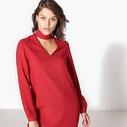 Robe droite collier, manches longues rouge
