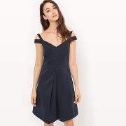 Soldes ! robe évasée, jeux de bretelles aux épaules - feminin - bleu - esprit