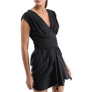 Robe courte drapée en soie - noir - femme - ikks