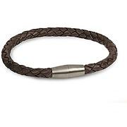 Boccia bracelet cuir marron titane homme 0347-03 bijou pour homme boccia en titane