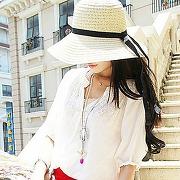 Vintage chapeau de soleil pour femmes fashion nœud papillon paille