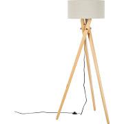 Eec a++, lampadaire tripod mikko - bois massif / tissu - 1 ampoule, loistaa