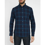 Chemises casual hartford - chemise washed twill plaid bleu vert