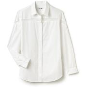 Chemise en voile de soie et coton à empiècement ajouré