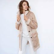 Manteau aspect peau lainée beige - soft grey