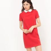 Soldes ! robe bicolore, col claudine - feminin - rouge - r edition