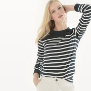 Soldes ! t-shirt marinière, manches longues - feminin - bleu - r essentiel