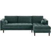 Scott, canapé d'angle 4 places avec méridienne à droite, velours pétrole