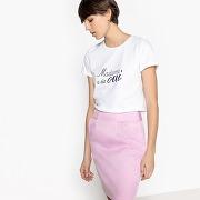 T-shirt message, col rond manches courtes blanc