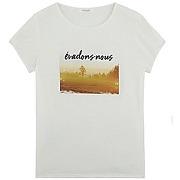 T-shirt à message imprimé écru - promod