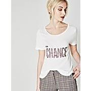 T-shirt motif strass ecru - promod