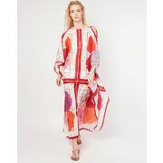 Manuel canovas-femme-robe milly bouquet en coton blanche-t.u