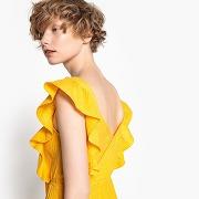 Robe volantée, décolleté v au dos, pur coton jaune