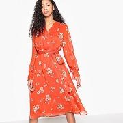 Robe portefeuille à fleurs, manches à smocks imprimé fond rouge