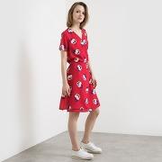 Robe imprimée, forme cache-cœur imprimé rouge