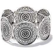 Bracelet à demi-lune en métal embossé argent
