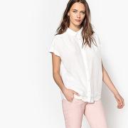 Chemise ample style boyfriend, manches courtes blanc