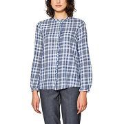 Chemise droite col polo, chemise carreaux blanc/marine