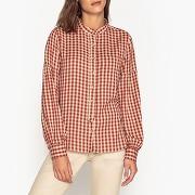 Chemise à carreaux, manches bouffantes carlota rouge + Écru