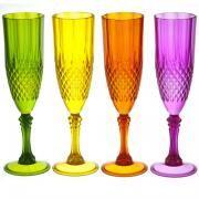Flûtes à champagne en acrylique (par 4) diamant la chaise longue diamètre 7 hauteur 23 cm