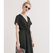 Longue robe soyeuse femme noir - promod