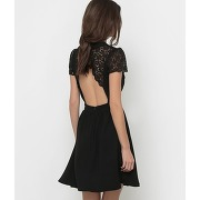 Robe manches courtes haut dentelle - feminin - noir - mademoiselle r