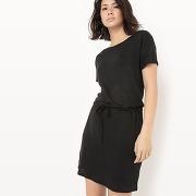 Soldes ! robe manches courtes, lin - feminin - noir - la redoute collections