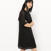 Soldes ! robe en dentelle évasée - feminin - noir - la redoute collections