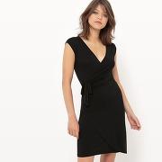 Soldes ! robe portefeuille à pois, manches courtes - feminin - noir - la redoute collections
