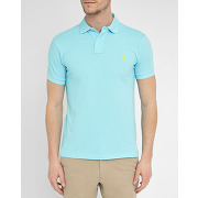Polos manches courtes polo ralph lauren pour homme - polo slim fit hamond blue