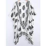 Short sleeve floral vintage print high low kimono