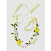 Headband tressé ruban satin et fleurs blanc - vertbaudet