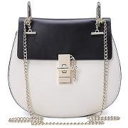 Sac pour femme en cuir bicolore petit sac élégant avec bandoulière chaînette signé dudu noir/blanc