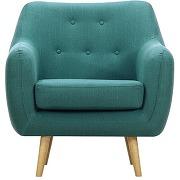 Fauteuil design tissu bleu canard pieds bois clair olaf miliboo