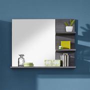 Miroir avec tablettes gris pour salle de bain moderne banita