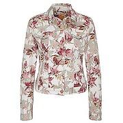 Veste en jean de coton mélangé extensible, à motif fleurs : « orange j90 portland »