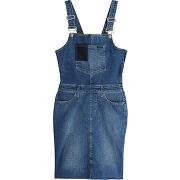 Robe courte salopette en jeans - bleu - femme - calvin klein jeans