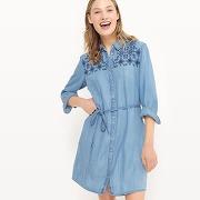 Robe en denim brodée, manches longues - feminin - bleu - only
