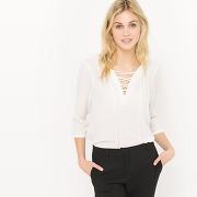 Soldes ! blouse col lacets - feminin - blanc - la redoute collections