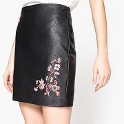 Soldes ! jupe faux cuir brodée - feminin - noir - la redoute collections