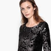 Soldes ! robe en sequins, près du corps, décolletée dos - feminin - noir - la redoute collections