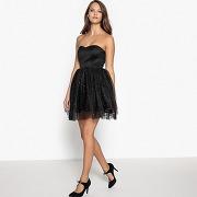 Soldes ! robe bustier, bas tulle avec strass - - noir - mademoiselle r