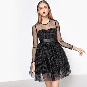 Soldes ! robe patineuse, haut plumetis, effet brillant - feminin - noir - mademoiselle r
