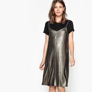 Soldes ! robe 2 en 1, sur tee-shirt, lamée - feminin - noir - la redoute collections