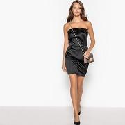 Soldes ! robe bustier à nœud en satin - feminin - noir - mademoiselle r