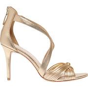 Sandales en cuir métallisé jaune sandro femme