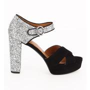Sandales pailletées à semelle plateforme noir what for femme