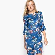 Robe satinée, imprimée fleurs imprimé fond bleu