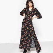 Robe longue imprimée fleurs imprimé fleurs fond noir