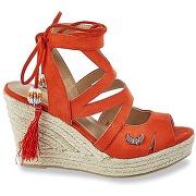 Sandales talon compensé tanao rouge corail